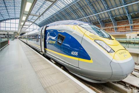 French Rail: The first car and engine of a Eurostar train.