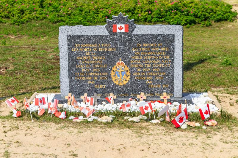 A memorial placard at Juno Beach in Normandy.
