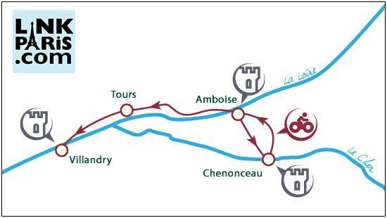 Loire Valley cycling tour location map.