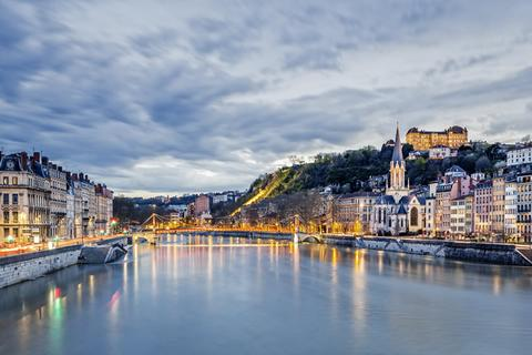 The city of Lyon, France on a cloudy day.