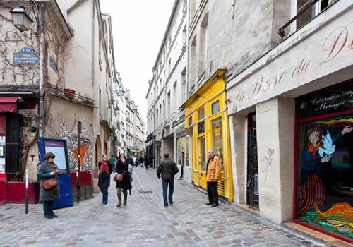 Marais, Paris - one of the many cobblestone streets in the district.