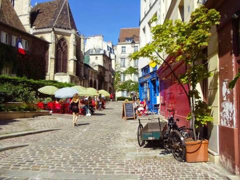 A cobblestone street near Sacre Coeur in Paris, France.