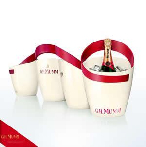 Bottles of Mumm champagne.