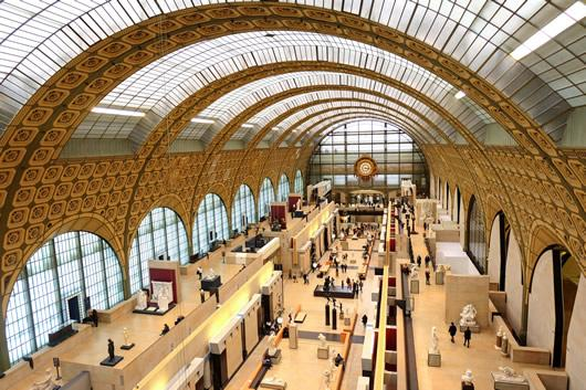 Looking down on the main gallery of the Museum d'Orsay in Paris, France.