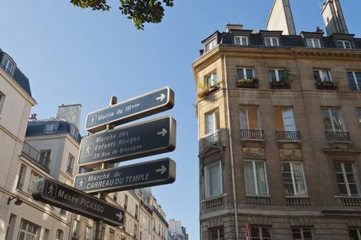 Beautiful blue sky over Paris
