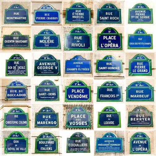 A mosaic of various Paris street corner signs.