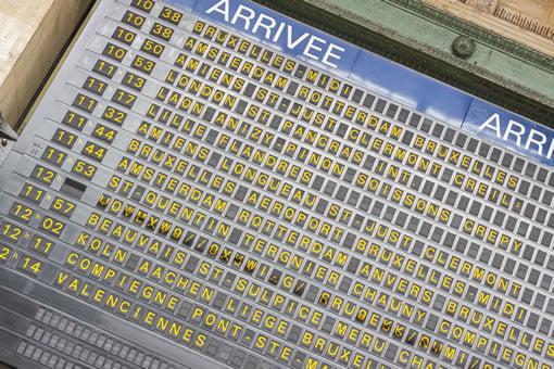 A rail board at Gare du Nord in Paris