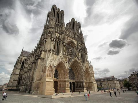 The plaza outside of Notre Dame Cathedral in Reims, France.
