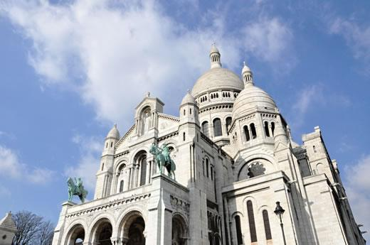 The exterior of Sacre Coeur church in Paris.