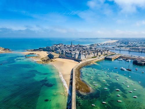 The walled town of St. Malo from the harbor in Brittany, France.