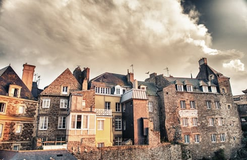 Old buildings on the edge of the walled city of Saint Malo.