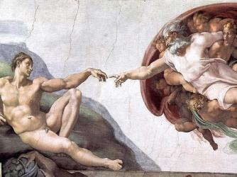 The ceiling of the Sistine Chapel at the Vatican.