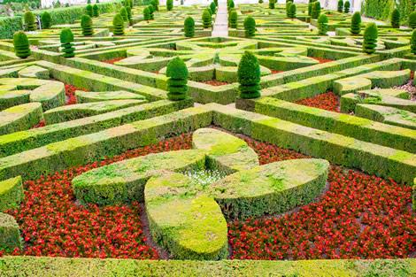 The gardens on the grounds of Villandry castle in the Loire Valley.