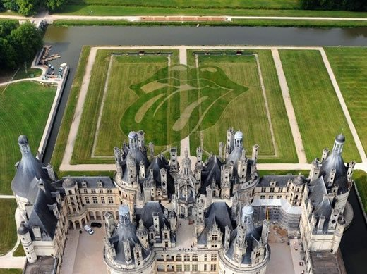 The Rolling Stones logo at Chambord castle in the Loire Valley.