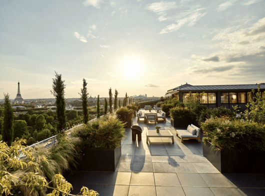 The rooftop of the wonderful Meurice hotel in Paris.