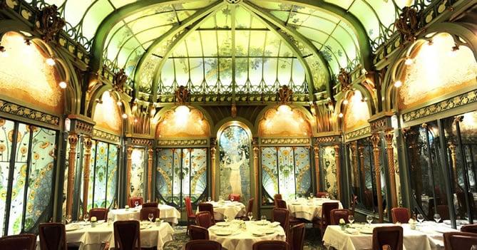The dining room at the Fermette Marbeuf restaurant in Paris.