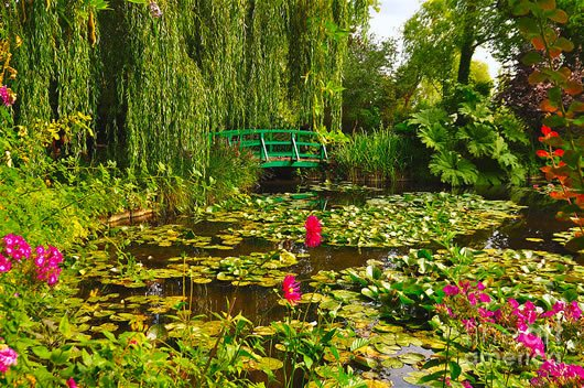 Giverny bike tour - See the famous bridge in Monet's lush garden.