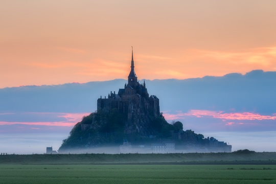The marsh surrounding Mont St. Michel in Normandy.