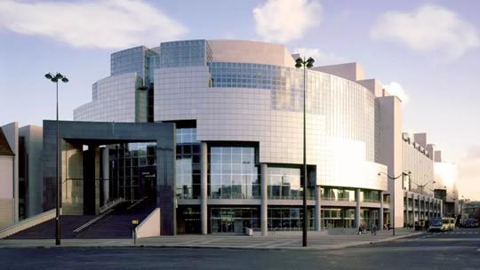 The exterior of the modern Opera Bastille.