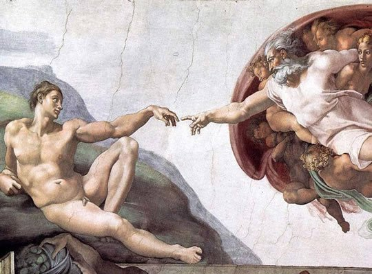 """The Sistine Chapel ceiling's famous work, entitled """"The Creation of Adam."""""""