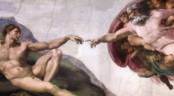 """Vatican Tour highlight: """"The Creation of Adam"""" by Michelangelo"""