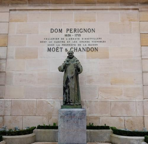 A statue of Dom Perignon in Epernay, France.
