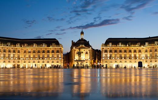 The historic Place de la Bourse in the city center of Bordeaux.