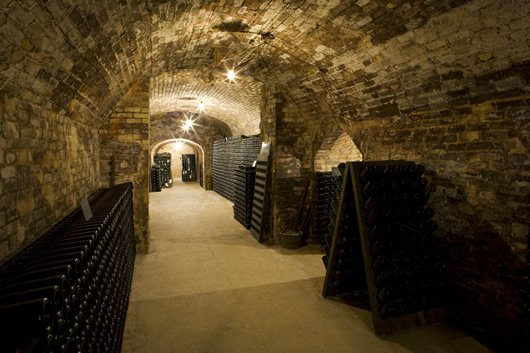 Champagne Day Trip From Paris: Champagne cellars at a winery in France.