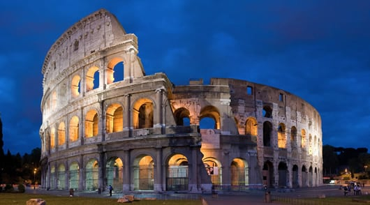Rome Walking Tour: The Colosseum at night.
