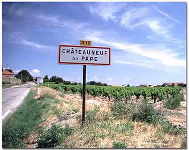 Provence Day Trips from Marseilles: A sign on the road leading to the town of Châteauneuf-du-Pape.